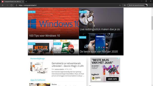 Screenshots Microsoft Edge.