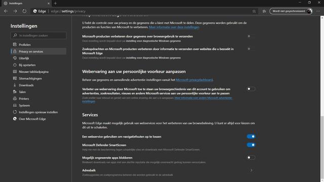 Zoekmachine veranderen in Microsoft Edge.