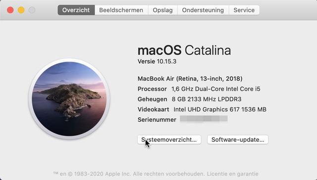 Altijd handig: een mini-overzicht met de belangrijkste gegevens van je Mac, inclusief versie van macOS en het serienummer van je computer
