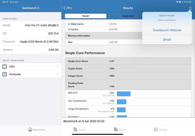 Is jouw i-apparaat eenmaal getest, dan kun je de testresultaten uploaden naar Geekbench