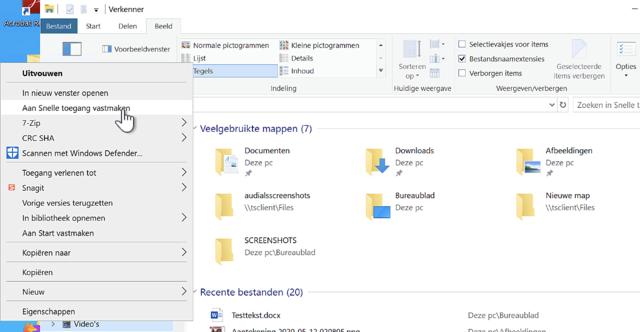 Op deze manier voeg je een map toe aan het lijstje onder Snelle toegang in de Verkenner van Windows 10