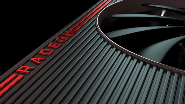 Close-up 3D-render van een AMD Radeon-videokaart.