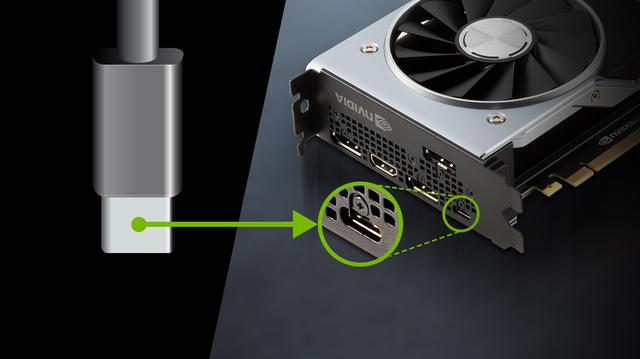 Afbeelding van de VirtualLink-connector en de bijbehorende poort op een Turing-generatie videokaart van Nvidia.