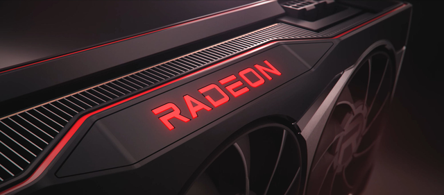 Close-up render of the Radeon logo on one of the new AMD Radeon RX 6000 video cards.