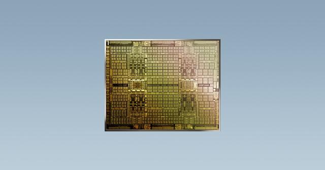 Render van een Ampere-generatie chip van Nvidia, specifiek bedoeld om cryptovaluta mee te delven.