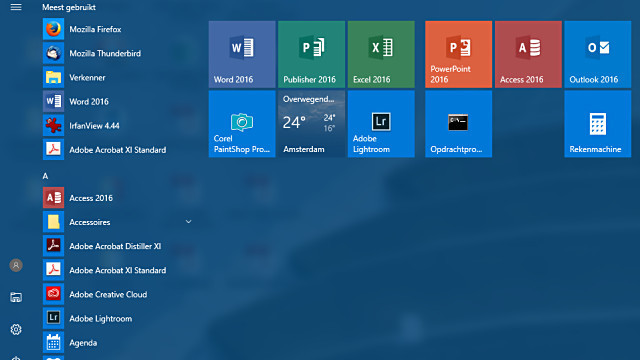 Tem je Windows 10 Startmenu