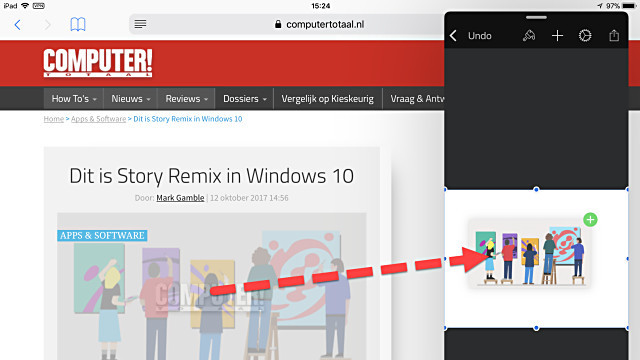 iOS 11 op de iPad maakt slepen en plakken (drag and drop) mogelijk