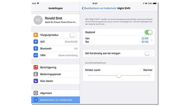 iOS beschikt over kleuraanpassingsmethoden voor het scherm
