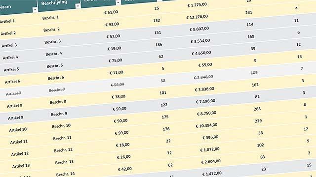 Opgemaakte cellen zorgen voor overzicht in Excel