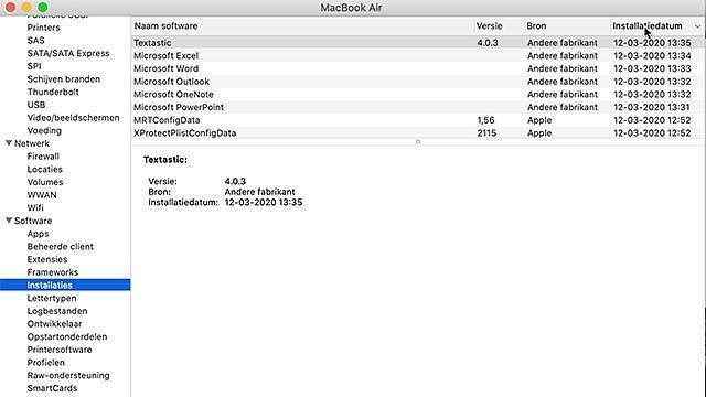 Hier zie je de updates van macOS, netjes op datum gesorteerd