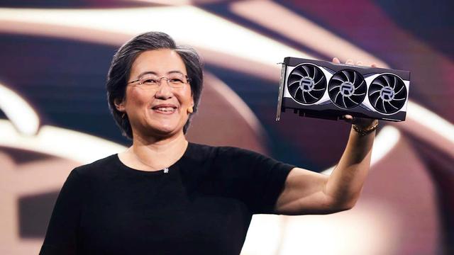 Foto van Dr. Lisa Su, CEO van AMD, tijdens de onthulling van de Radeon RX 6000-videokaarten.