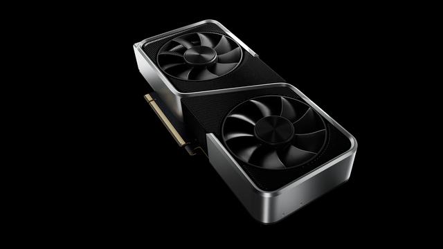 Isometrisch aanzicht van de NVIDIA GeForce RTX 3060 Ti, met de twee ventilatoren bovenop afgebeeld.