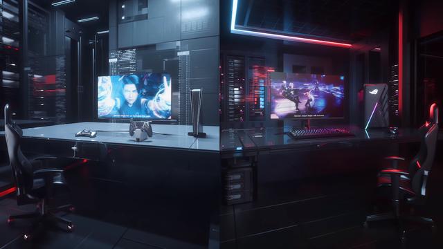 Marketingrender van een 4K-monitor van ASUS in gebruik voor zowel console- als pc-gaming.