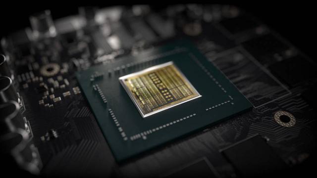 Afbeelding van een Turing-chipset van Nvidia, vast gesoldeerd aan een grotere printplaat.