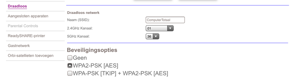 Router webinterface